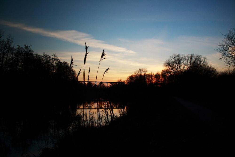 Sonnenuntergang über der Oste