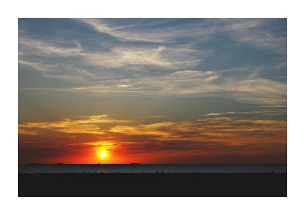 Sonnenuntergang über Hallig Hooge 2