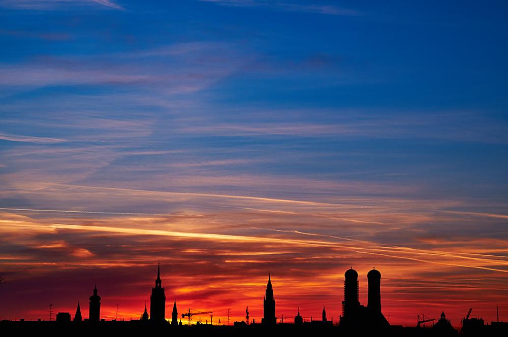 Sonnenuntergang über München