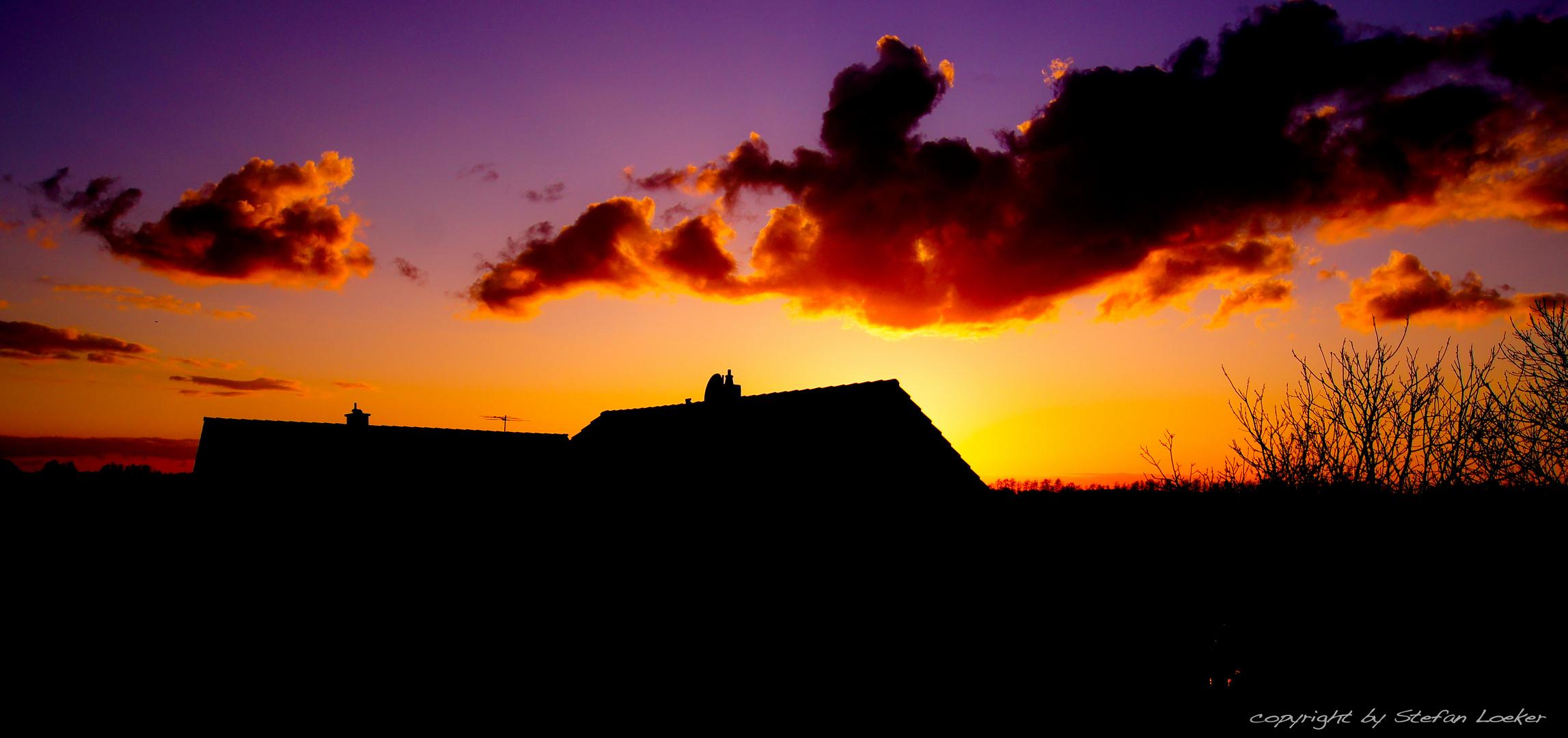 Sonnenuntergang über Pont