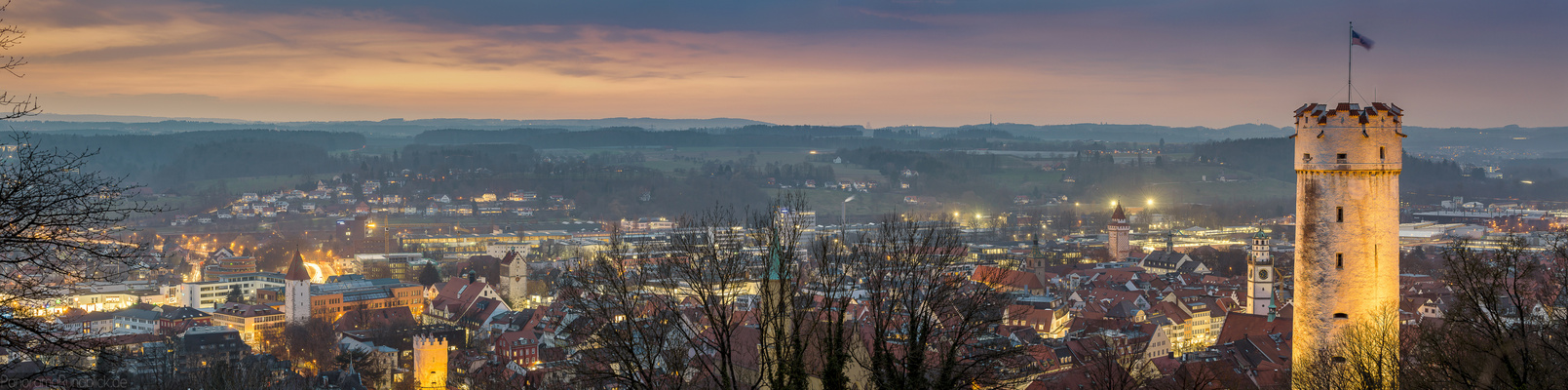 Sonnenuntergang über Ravensburg
