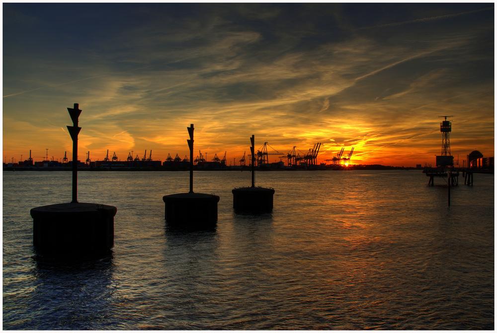Sonnenuntergang über Waltershof
