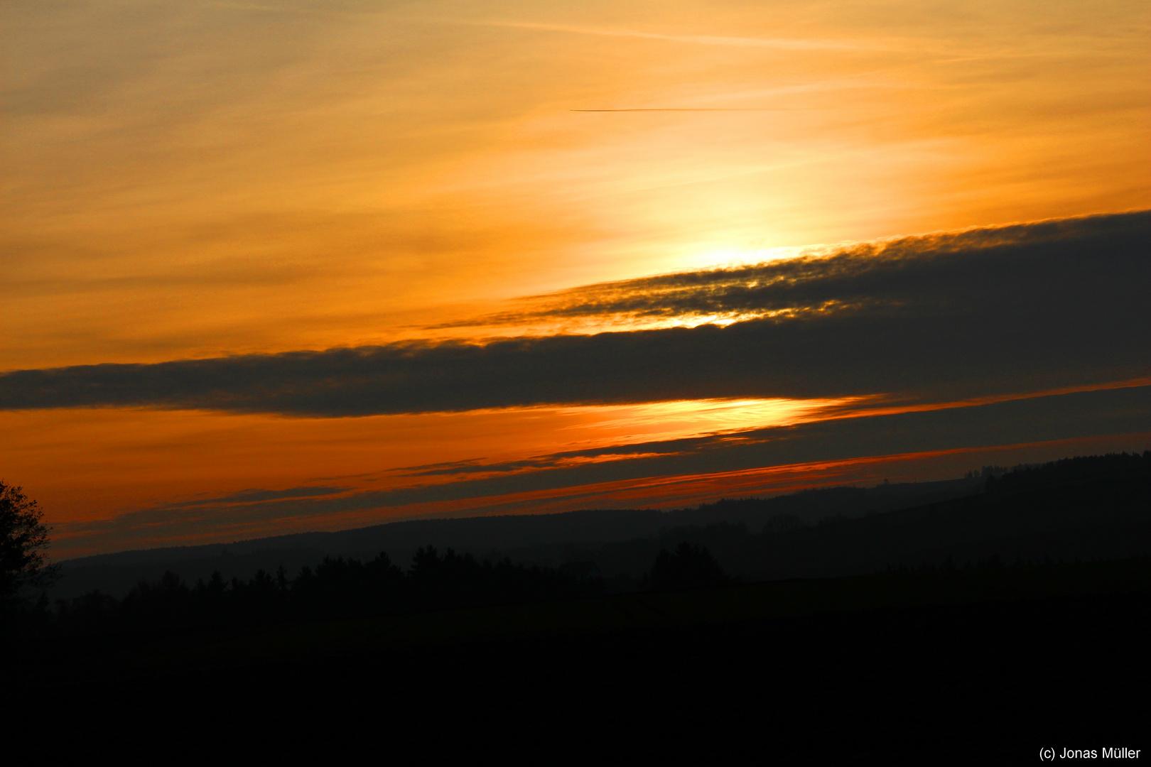 Sonnenuntergang über Wölbattendorf (bei Hof)