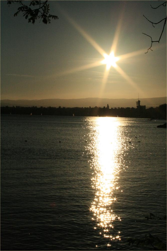 ...sonnenuntergang überm genfer see...