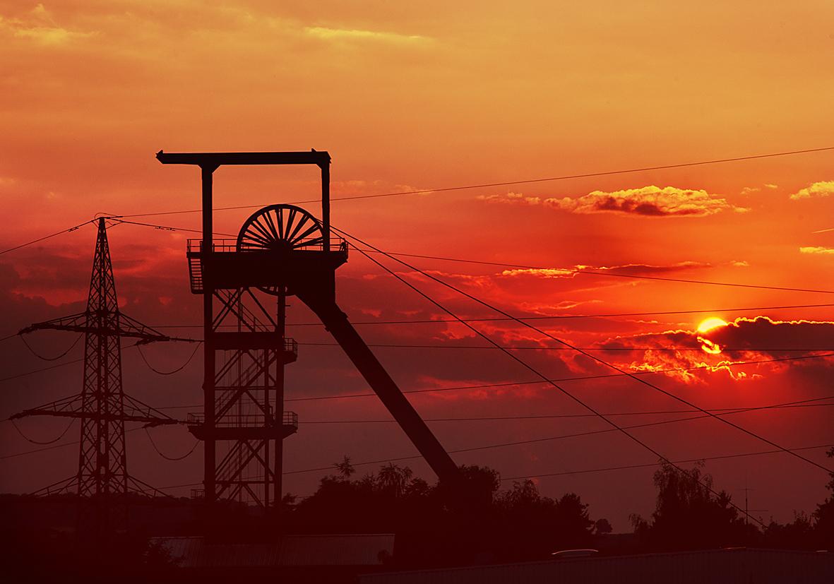 Sonnenuntergang überm Schacht