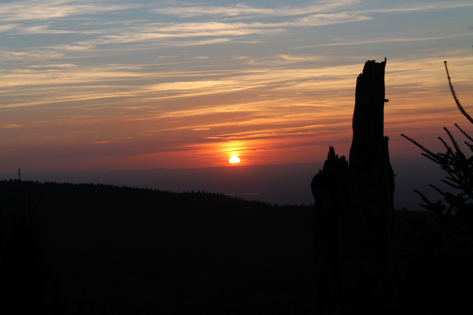 Sonnenuntergang von der Schwarzwaldhochstrasse