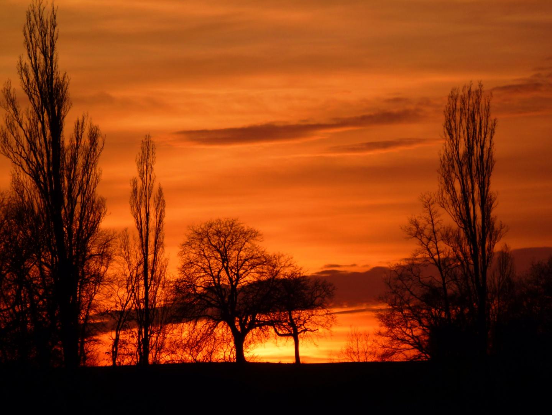 Sonnenuntergang von unserer Strasse aus