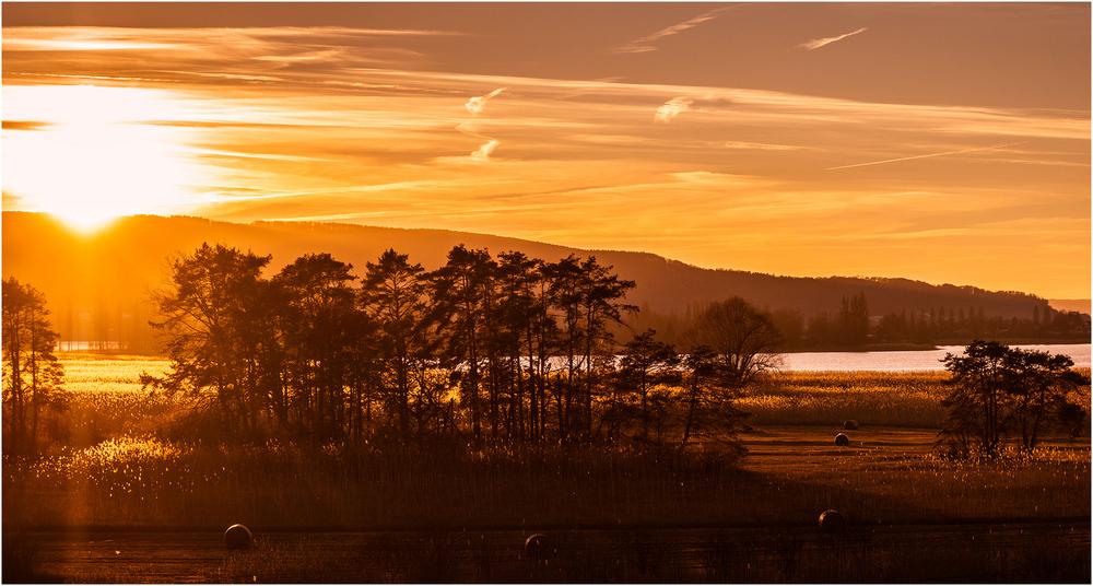 Sonnenuntergang vor der Insel Reichenau