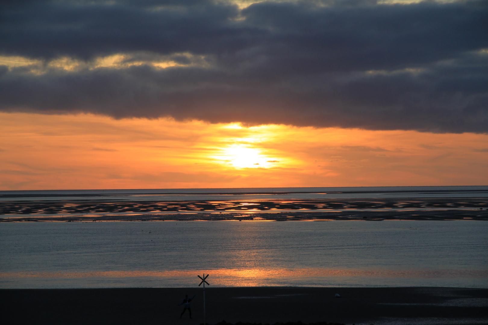 Sonnenuntergang vor Utersum auf Föhr