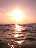 Sonnenuntergang während des Schwimmens