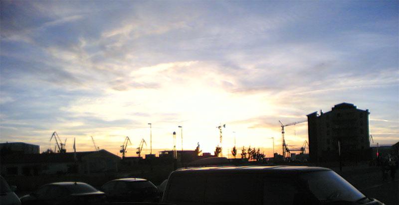 Sonnenuntergang Wismar hafen