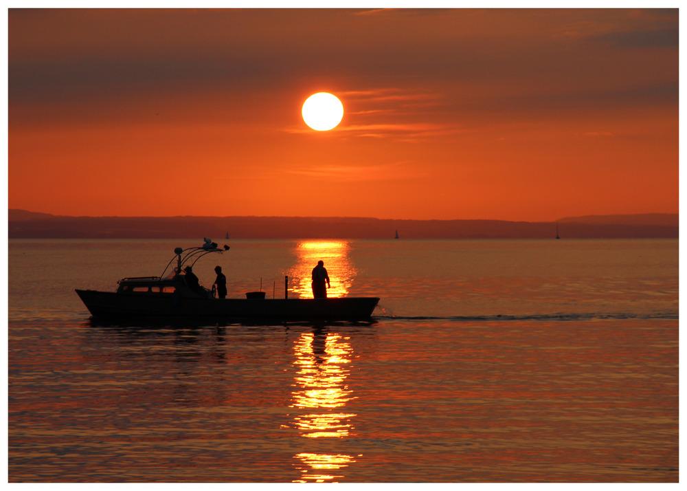 Sonnenuntergangsfischer