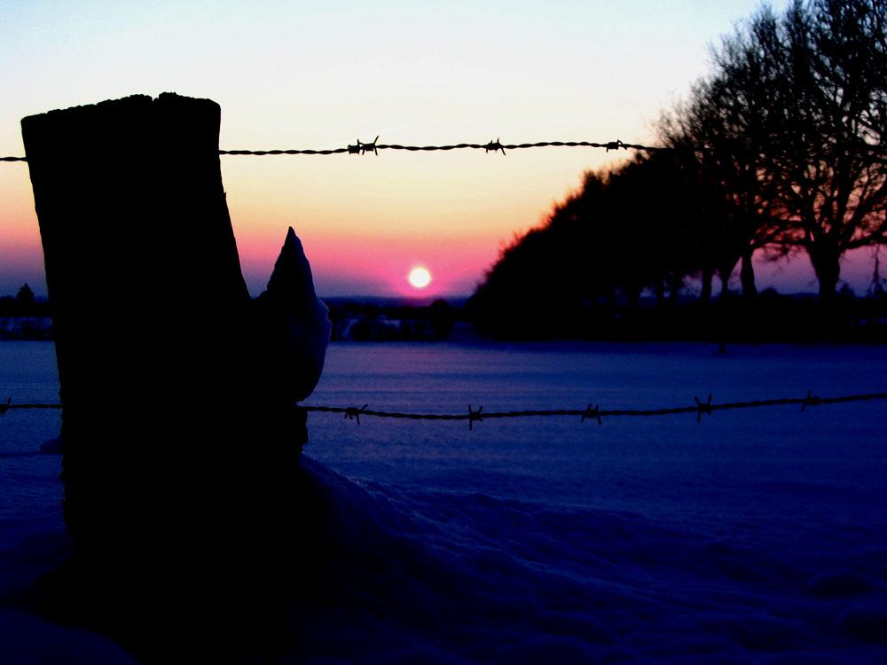 Sonneuntergang im Schnee