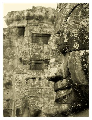 Sourire Khmer am Bayon - Siem Reap, Kambodscha