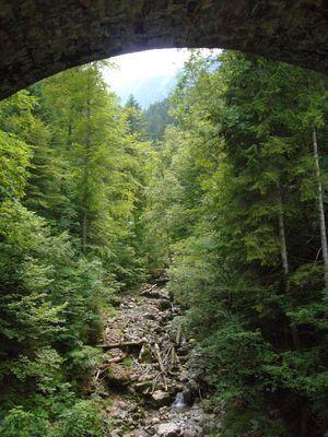 Sous un pont ferroviaire, la vallée qui monte