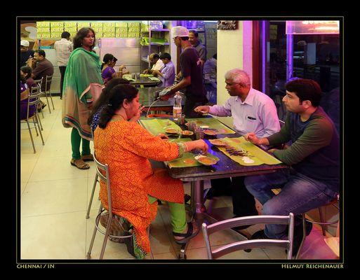 South Indian Dining On Banana Leaves, Murugan Idli Shop, Chennai, Tamil Nadu / IN