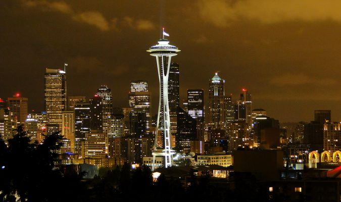 Space Needle & Downtown Seattle, WA at night..