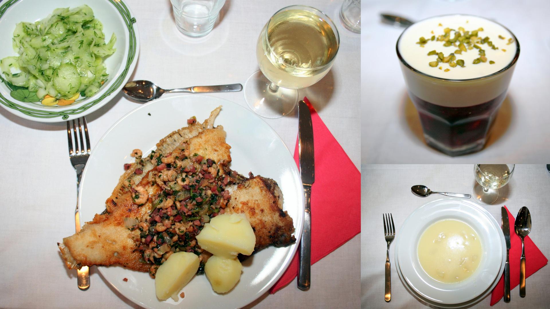 Spargelcremesuppe, Maischolle mit Salzkartoffel, Beerenragout (2)