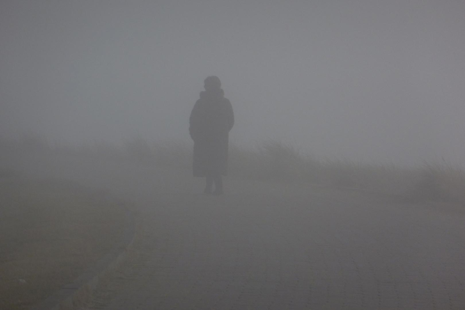 Spaziergängerin im Nebel. Bloß nicht verlaufen ...