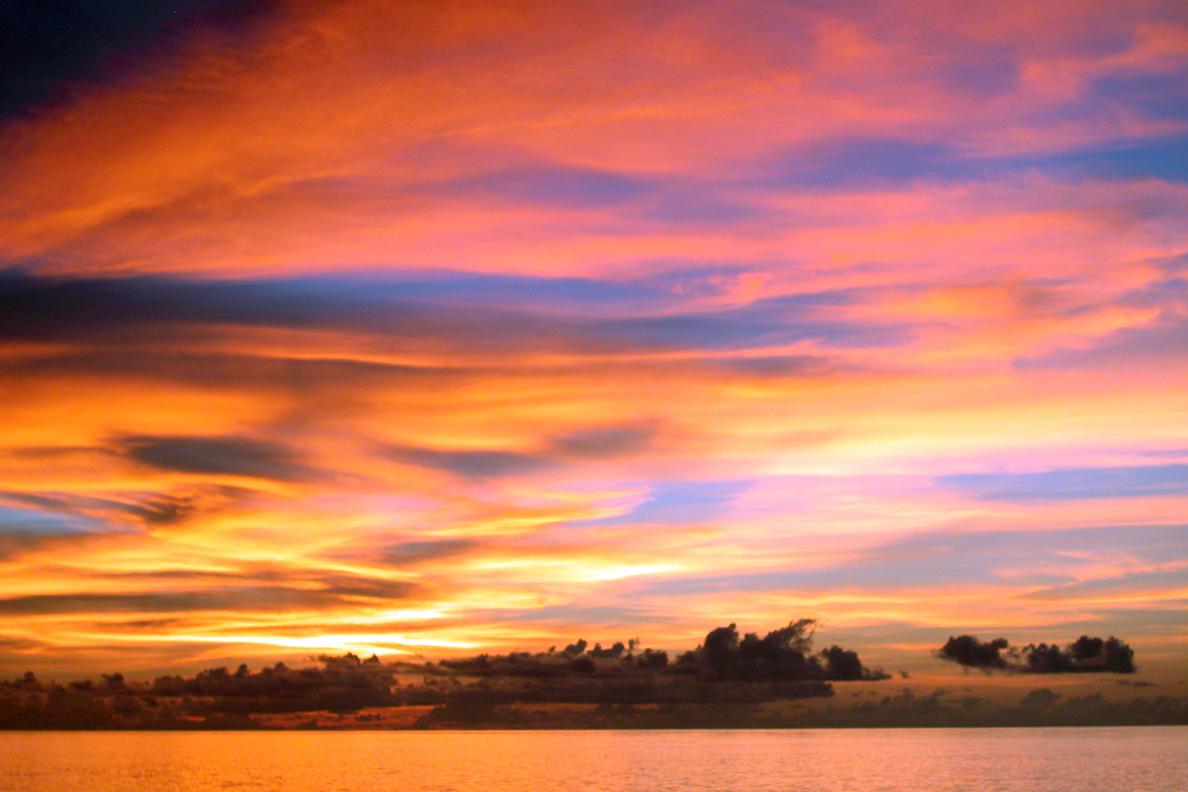 Spectacular sunset atmosphere at Mergui archipelago