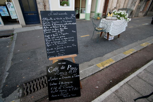 Speisekarte in der Normandie