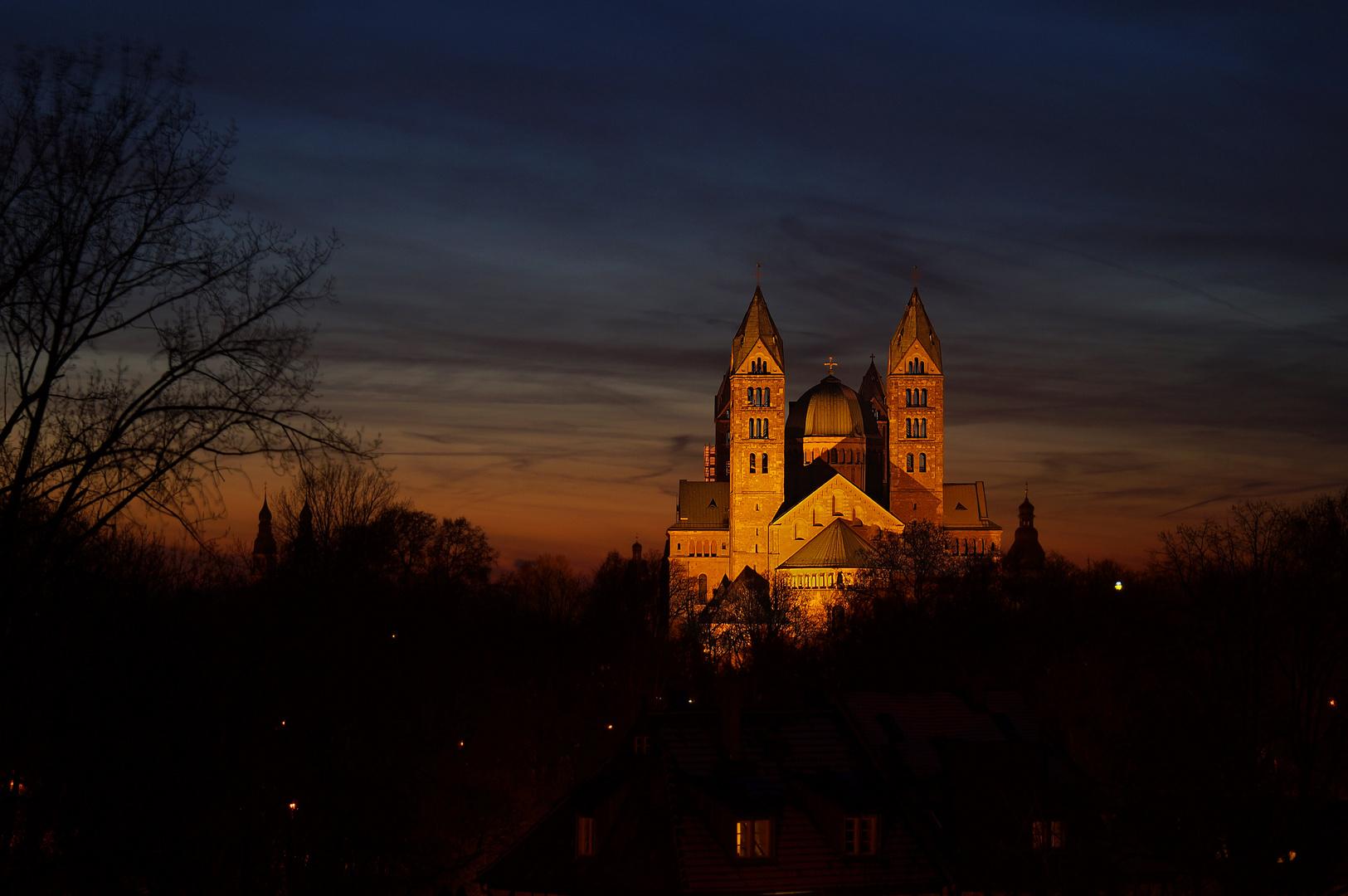 Speyerer Dom bei Sonnenuntergang