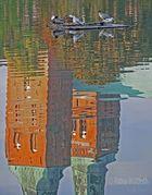 Spiegelung des Lübecker Doms im Mühlenteich