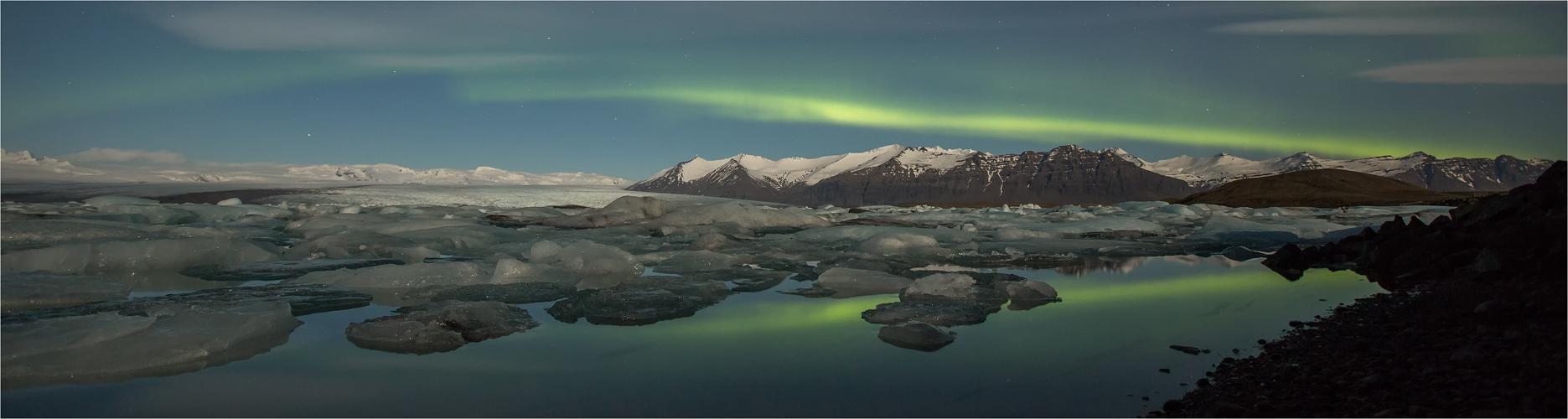 Spiegelung im Gletschersee