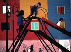 Spielende Kinder in La Bocca, Buenos Aires