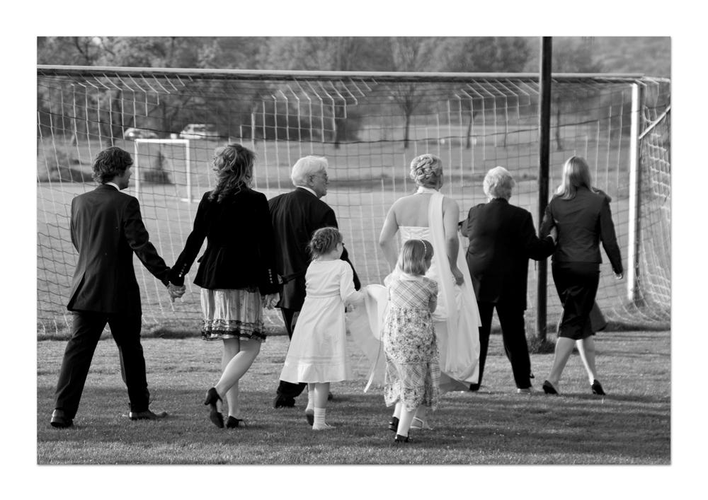 sportliche Hochzeitsgesellschaft