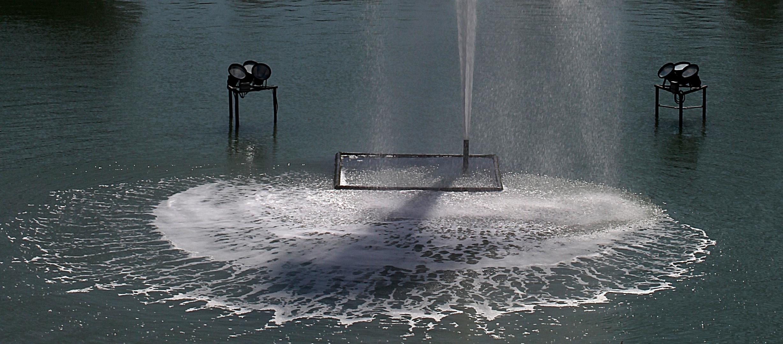 Sprühkreis des rückstürzenden Fontänenwassers