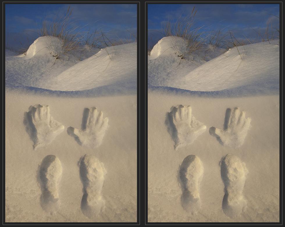 Spuren im Schnee (3d - Kreuzblick)