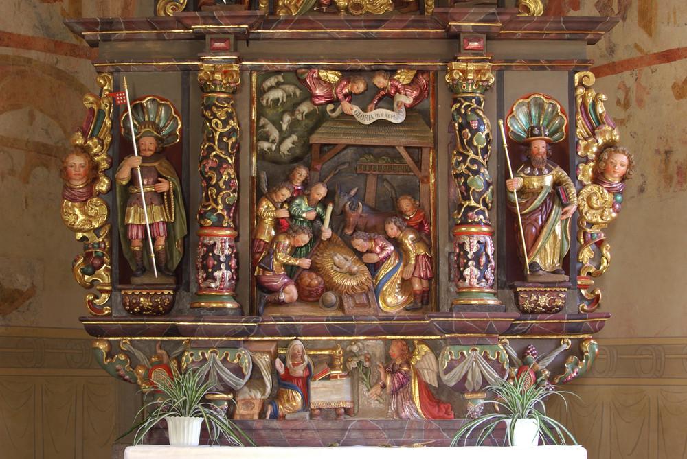 St. Jodocus / Eifel (Mittelbild im Altaraufsatz -Geburt Christi-)