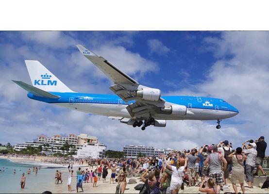 St. Maarten KLM-747 Anflug auf den Flughafen