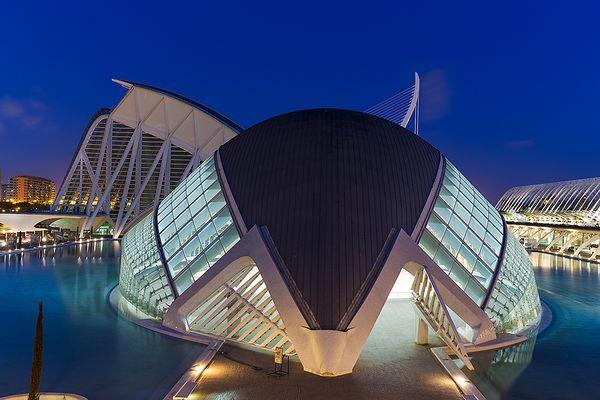 Stadt der Künste und Wissenschaften bei Nacht