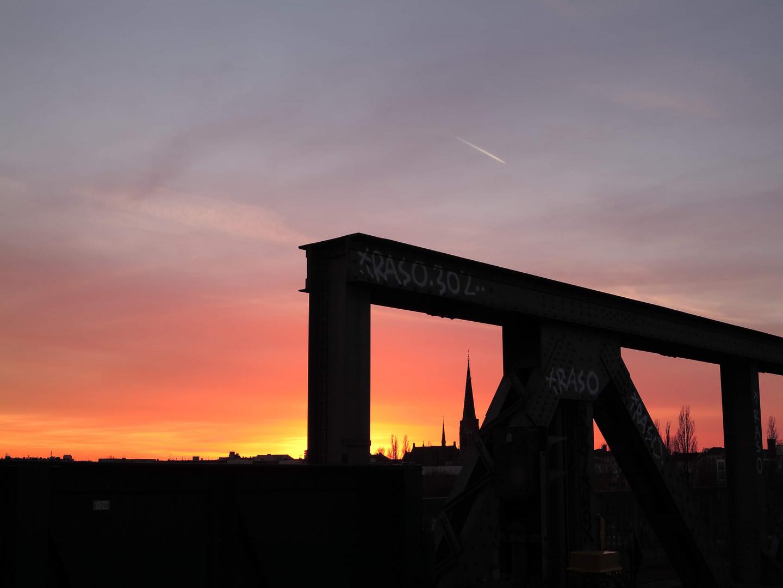 Stadt und Abendsonne