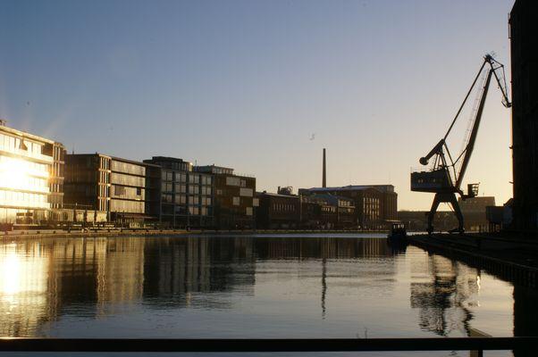 Stadthafen von Münster heute bei Sonnenaufgang