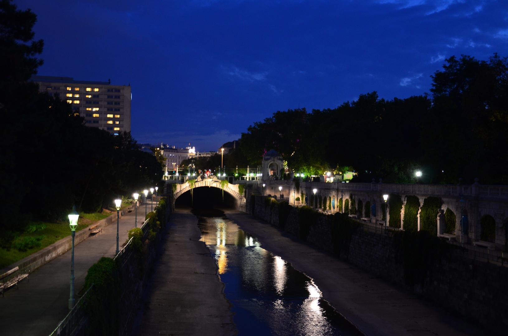 Stadtpark bei Nacht.