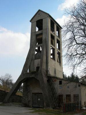 Stahlbetonförderturem Steinkohlebergwerk Grünbach