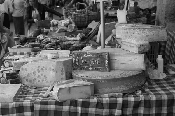 Stand de fromage au marché