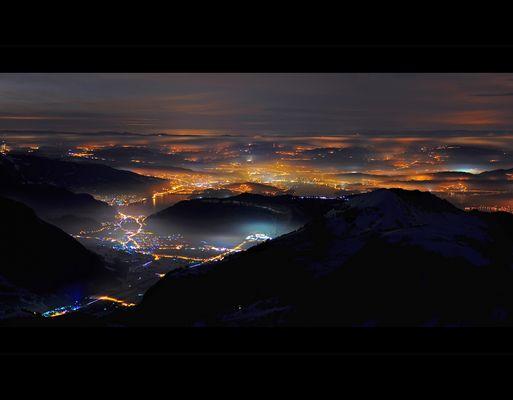 Stans und Mittelland vom Brisen 2404m um 01:00 Uhr