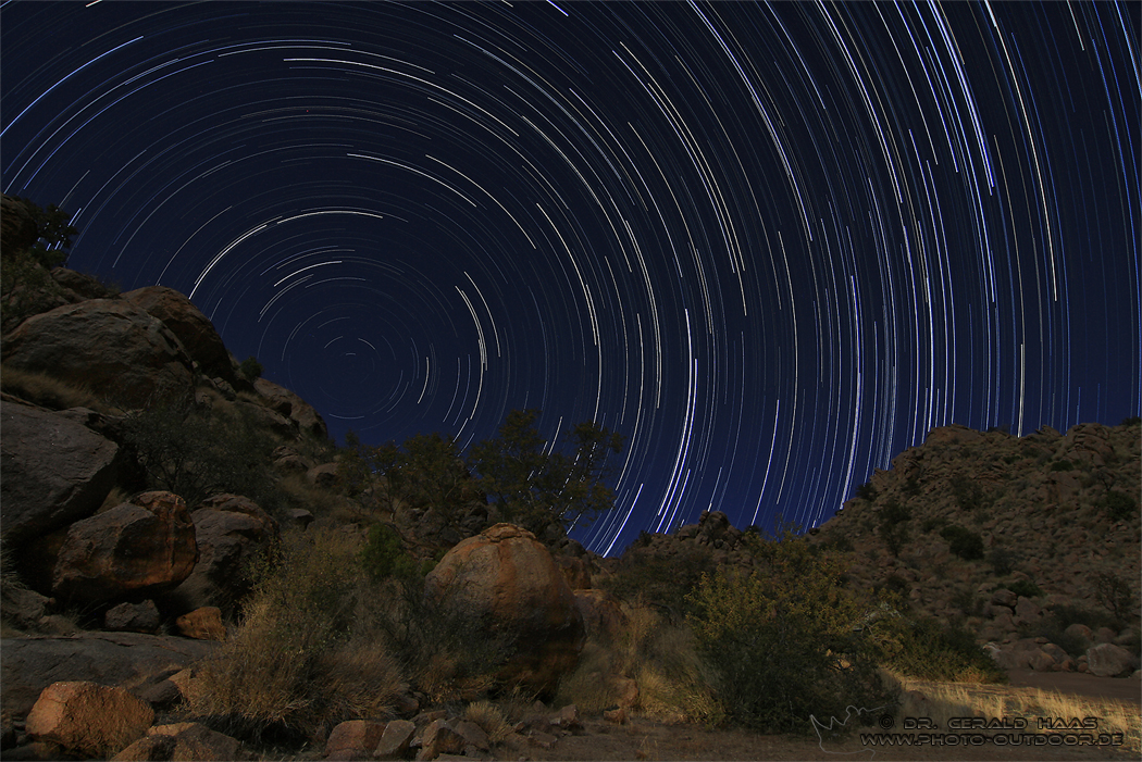 Startrail in Namibia