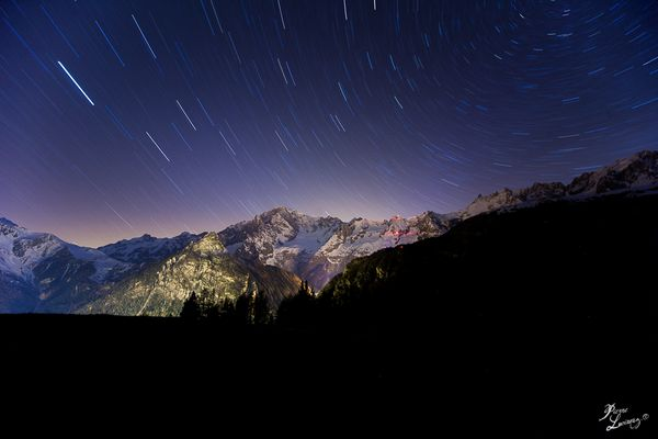 Startrail over Mont Blanc