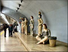 Statues in Lisboa underground.