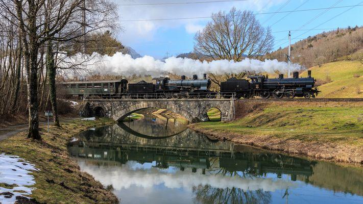 Steam Adventure Tours mit B3/4 1367 & A3/5 705 im St. Galler Rheintal