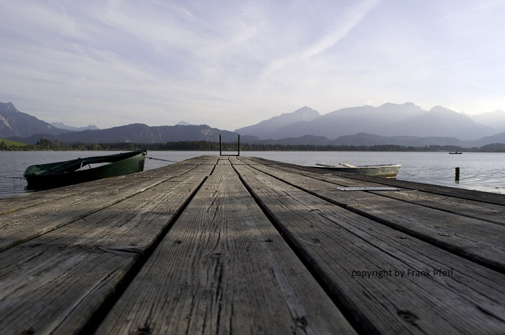 Steg, Boote, See, Sonnenuntergang