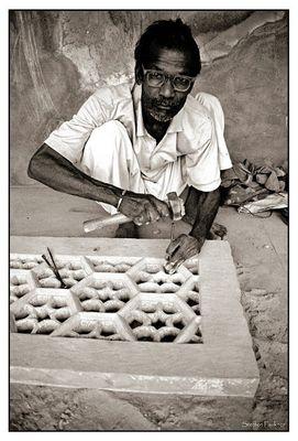 Steinmetz in Agra / Indien