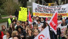 STELLEN versus BAU-STELLEN Stgt Demozug K21 meets Warnstreik März14