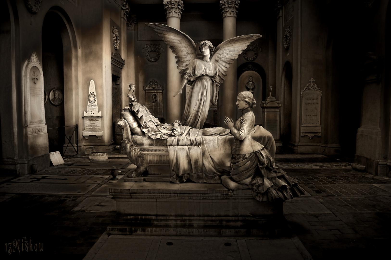 Sterbebett mit Engel