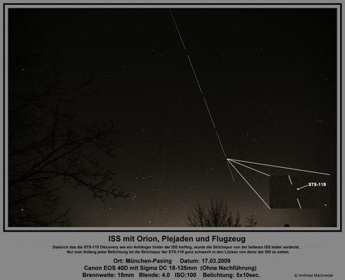 Sternbild Orion, Plejaden, ISS, Flugzeug und ganz schwach STS-119